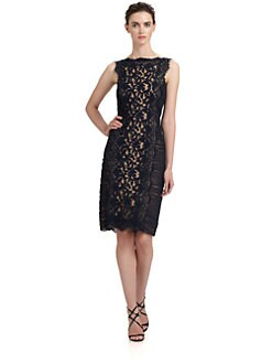 Tadashi Shoji - Ruched Inset Lace Dress