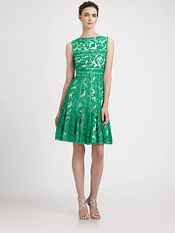 Tadashi Shoji - Embroidered Boatneck Dress