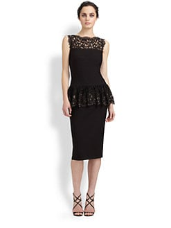 Tadashi Shoji - Lace-Trimmed Peplum Dress