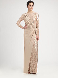 Tadashi Shoji - Sequined Drape Gown