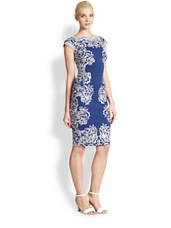 Tadashi Shoji - Lace-Embroidered Perforated Jersey Dress