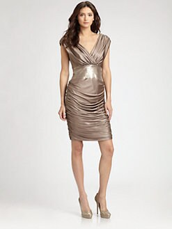 Tadashi Shoji - Ruched Satin Dress