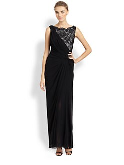 Tadashi Shoji - Draped Chiffon Gown