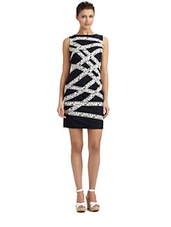 Tadashi Shoji - Criss-Cross Ribbon-Effect Brocade Dress