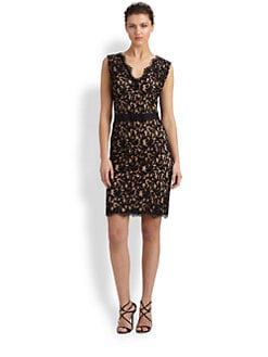 Tadashi Shoji - Belted Lace Dress