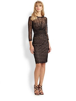 Tadashi Shoji - Mixed-Media Lace Dress