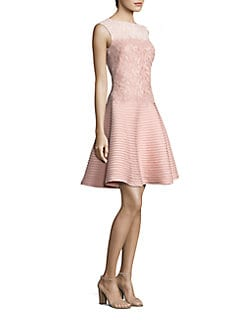 Tadashi Shoji - Lace Mixed-Media Flared Dress