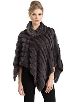 Adrienne Landau - Knit Rabbit Fur Poncho