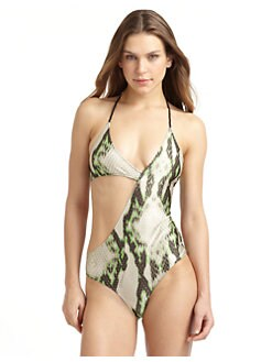 Just Cavalli - Snake Print Asymmetrical One-Piece Swimsuit