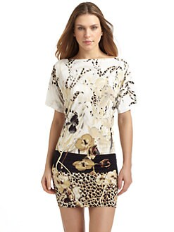 Just Cavalli - Floral-Animal Print Jersey Cover-up