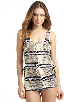 Just Cavalli - Snake Print Ruched Jersey Coverup