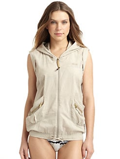 Just Cavalli - Cotton Hooded Zip-Front Vest
