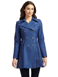 Via Spiga - Faux Patent Leather-Trimmed Trenchcoat