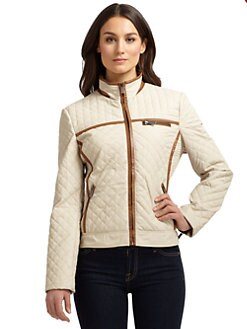 Via Spiga - Piped Quilted Faux Leather Jacket