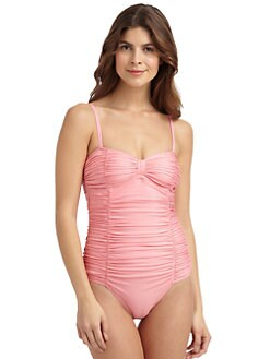 Lisa Curran - Ruched Bow One-Piece Swimsuit