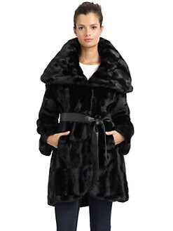 Tahari - Marla Faux Fur Wrap Coat/Black