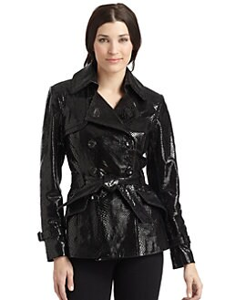 Via Spiga - Glazed Lizard-Embossed Leather Trenchcoat