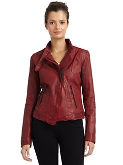 Andrew Marc - Wynter Asymmetrical Zip Leather Motorcycle Jacket