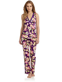 OnGossamer - Floral-Print Mesh Pajama Set