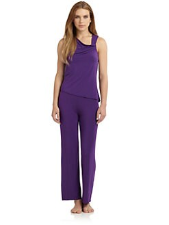 OnGossamer - Asymmetric Draped Jersey Pajama Set
