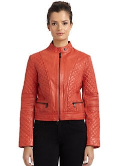 Andrew Marc - Valerie Quilted Leather Motorcycle Jacket