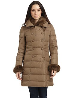 Gimo's - Rabbit Fur Double Breasted Puffer Coat