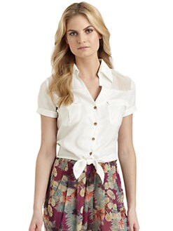 6 Shore Road - Atlantic Crepe Tie-Waist Blouse