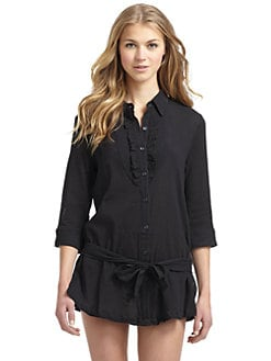 Kushcush Swim - Belted Shirtdress Coverup/Black