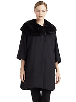Cinzia Rocca - Rabbit Fur Collar Cape Coat