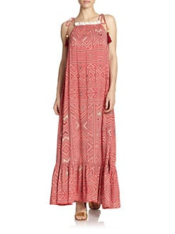 6 Shore Road - Moonsoon Geometric-Print Ruffle Maxi Dress