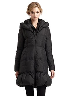 Tahari - Wesley Ruffle Hem Puffer Coat