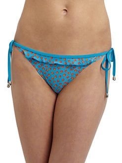 French Connection - Ditsy Leaf Frill Side Tie Bikini Bottom