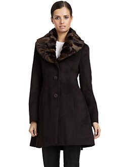 Tahari - Ricky Faux Fur Collar Coat