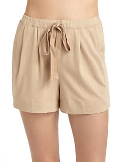 Donna Karan - Pima Cotton Drawstring Shorts/Tan