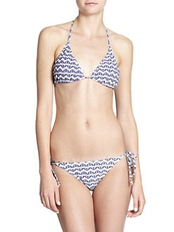 French Connection - Butterfly-Print Triangle Bikini Top