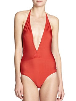 French Connection - Shine On Me One-Piece Plunging Halter Swimsuit