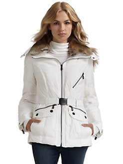 Andrew Marc - Flair Fur Collar Puffer Coat/White