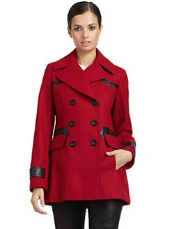 Via Spiga - Faux Leather Trim Peacoat