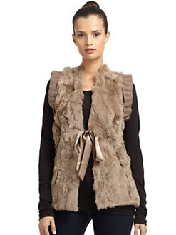 LOVE TOKEN - Satin Bow Rabbit Fur Vest/Tan
