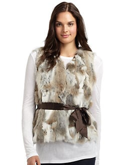 LOVE TOKEN - Rabbit Fur Satin Tie Vest