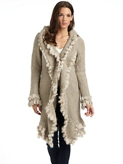 LOVE TOKEN - Fur Trim Hooded Cardigan