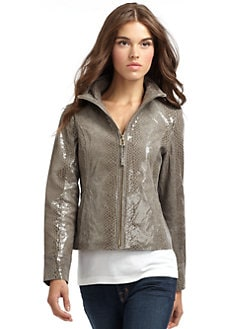 Via Spiga - Snakeskin-Embossed Leather Jacket