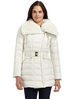 Dawn Levy - Belted Rabbit Collar Coat
