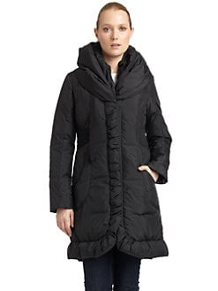 Tahari - Mariana Ruched Shawl Collar Coat
