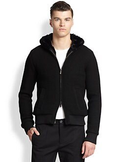 Emporio Armani - Faux-Fur Lined Knit Hoodie