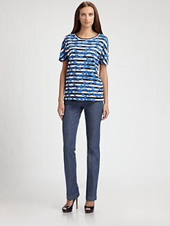 Piazza Sempione - Graffiti Print Striped Tee