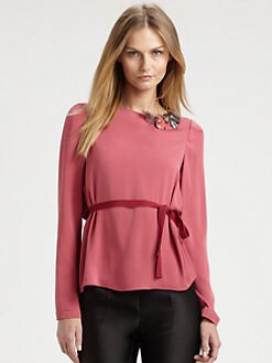 Piazza Sempione - Jeweled Silk Top