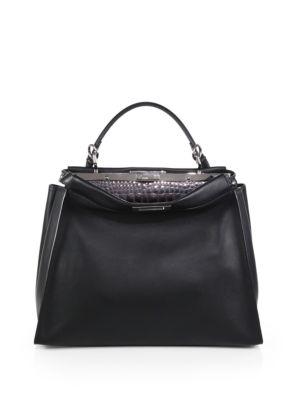 fendi female 188971 large leather crocembossed peekaboo satchel