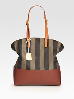 Fendi - Striped Zip Top Tote