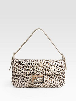 Fendi - Leopard-Print Watersnake Baguette Shoudler Bag